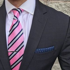 HOST PICK Ted Baker London Pink & Gray Striped Tie